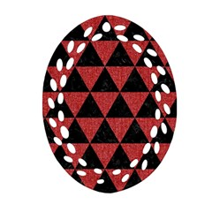 Triangle3 Black Marble & Red Denim Oval Filigree Ornament (two Sides) by trendistuff