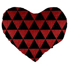 Triangle3 Black Marble & Red Denim Large 19  Premium Flano Heart Shape Cushions by trendistuff