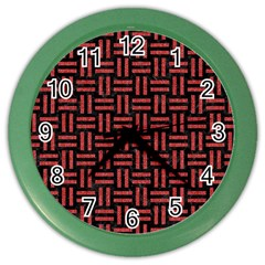 Woven1 Black Marble & Red Denim (r) Color Wall Clocks by trendistuff