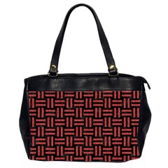 Woven1 Black Marble & Red Denim (r) Office Handbags (2 Sides)  by trendistuff