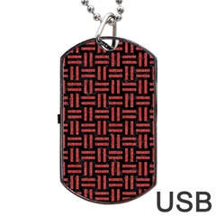 Woven1 Black Marble & Red Denim (r) Dog Tag Usb Flash (one Side) by trendistuff
