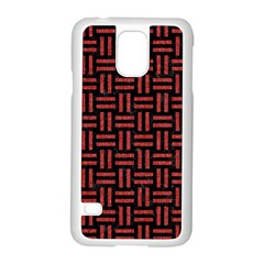 Woven1 Black Marble & Red Denim (r) Samsung Galaxy S5 Case (white)