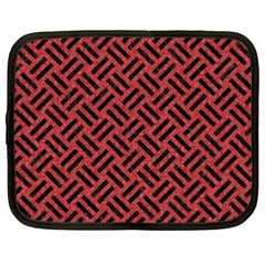 Woven2 Black Marble & Red Denim Netbook Case (xxl)  by trendistuff