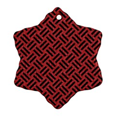 Woven2 Black Marble & Red Denim Snowflake Ornament (two Sides)