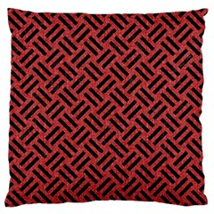 Woven2 Black Marble & Red Denim Standard Flano Cushion Case (one Side) by trendistuff