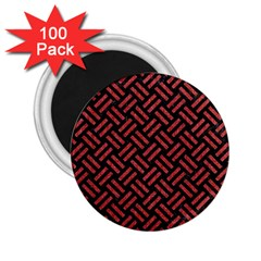 Woven2 Black Marble & Red Denim (r) 2 25  Magnets (100 Pack)  by trendistuff
