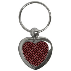 Woven2 Black Marble & Red Denim (r) Key Chains (heart)  by trendistuff