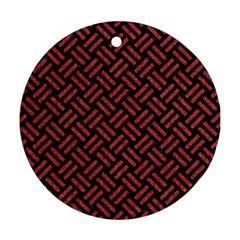 Woven2 Black Marble & Red Denim (r) Round Ornament (two Sides) by trendistuff