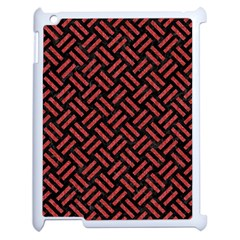 Woven2 Black Marble & Red Denim (r) Apple Ipad 2 Case (white) by trendistuff