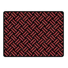 Woven2 Black Marble & Red Denim (r) Double Sided Fleece Blanket (small)  by trendistuff
