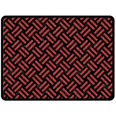 Woven2 Black Marble & Red Denim (r) Double Sided Fleece Blanket (large)  by trendistuff