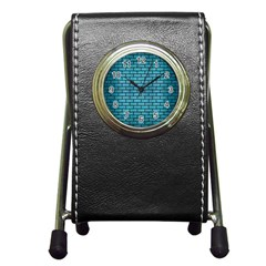 Brick1 Black Marble & Teal Brushed Metal Pen Holder Desk Clocks by trendistuff