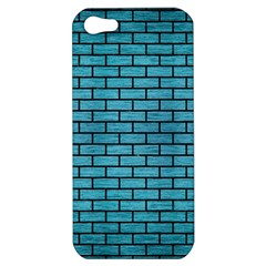 Brick1 Black Marble & Teal Brushed Metal Apple Iphone 5 Hardshell Case by trendistuff