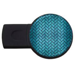 Brick2 Black Marble & Teal Brushed Metal Usb Flash Drive Round (4 Gb) by trendistuff