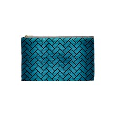 Brick2 Black Marble & Teal Brushed Metal Cosmetic Bag (small)  by trendistuff