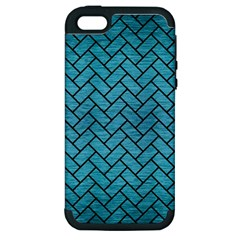 Brick2 Black Marble & Teal Brushed Metal Apple Iphone 5 Hardshell Case (pc+silicone) by trendistuff