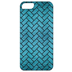 Brick2 Black Marble & Teal Brushed Metal Apple Iphone 5 Classic Hardshell Case by trendistuff