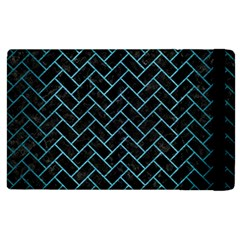 Brick2 Black Marble & Teal Brushed Metal (r) Apple Ipad 2 Flip Case by trendistuff