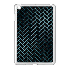 Brick2 Black Marble & Teal Brushed Metal (r) Apple Ipad Mini Case (white) by trendistuff