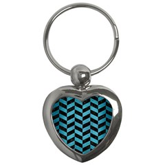 Chevron1 Black Marble & Teal Brushed Metal Key Chains (heart)  by trendistuff