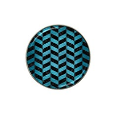 Chevron1 Black Marble & Teal Brushed Metal Hat Clip Ball Marker (4 Pack) by trendistuff