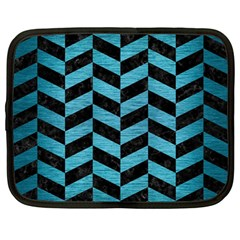 Chevron1 Black Marble & Teal Brushed Metal Netbook Case (large) by trendistuff