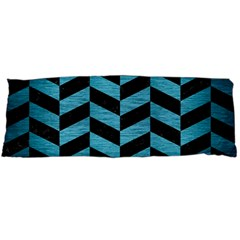 Chevron1 Black Marble & Teal Brushed Metal Body Pillow Case Dakimakura (two Sides) by trendistuff