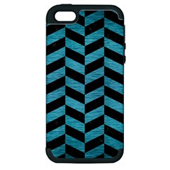 Chevron1 Black Marble & Teal Brushed Metal Apple Iphone 5 Hardshell Case (pc+silicone) by trendistuff