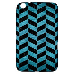 Chevron1 Black Marble & Teal Brushed Metal Samsung Galaxy Tab 3 (8 ) T3100 Hardshell Case  by trendistuff