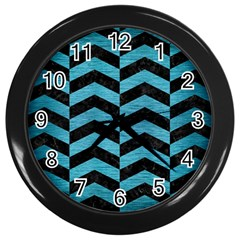 Chevron2 Black Marble & Teal Brushed Metal Wall Clocks (black) by trendistuff