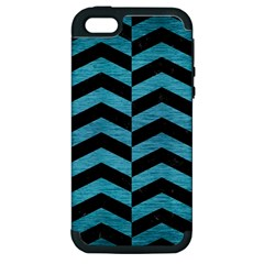 Chevron2 Black Marble & Teal Brushed Metal Apple Iphone 5 Hardshell Case (pc+silicone) by trendistuff