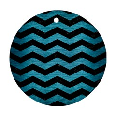 Chevron3 Black Marble & Teal Brushed Metal Round Ornament (two Sides) by trendistuff