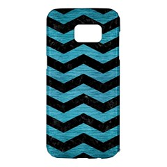 Chevron3 Black Marble & Teal Brushed Metal Samsung Galaxy S7 Edge Hardshell Case by trendistuff