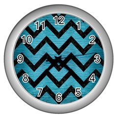 Chevron9 Black Marble & Teal Brushed Metal Wall Clocks (silver)  by trendistuff