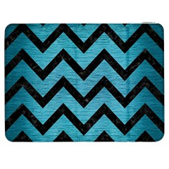 Chevron9 Black Marble & Teal Brushed Metal Samsung Galaxy Tab 7  P1000 Flip Case by trendistuff
