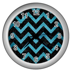 Chevron9 Black Marble & Teal Brushed Metal (r) Wall Clocks (silver)  by trendistuff