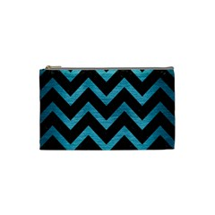 Chevron9 Black Marble & Teal Brushed Metal (r) Cosmetic Bag (small)  by trendistuff