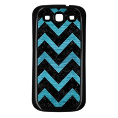 Chevron9 Black Marble & Teal Brushed Metal (r) Samsung Galaxy S3 Back Case (black) by trendistuff