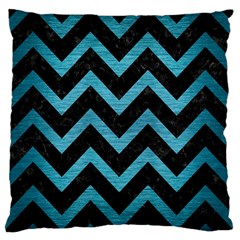 Chevron9 Black Marble & Teal Brushed Metal (r) Large Flano Cushion Case (one Side) by trendistuff