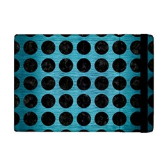 Circles1 Black Marble & Teal Brushed Metal Apple Ipad Mini Flip Case by trendistuff