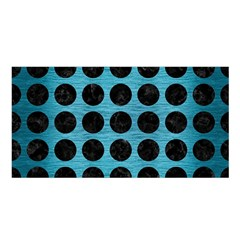 Circles1 Black Marble & Teal Brushed Metal Satin Shawl by trendistuff