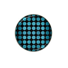 Circles1 Black Marble & Teal Brushed Metal (r) Hat Clip Ball Marker (4 Pack) by trendistuff