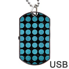 Circles1 Black Marble & Teal Brushed Metal (r) Dog Tag Usb Flash (one Side) by trendistuff