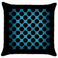 Circles2 Black Marble & Teal Brushed Metal Throw Pillow Case (black) by trendistuff