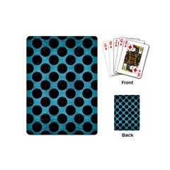 Circles2 Black Marble & Teal Brushed Metal Playing Cards (mini)  by trendistuff