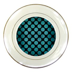 Circles2 Black Marble & Teal Brushed Metal (r) Porcelain Plates by trendistuff