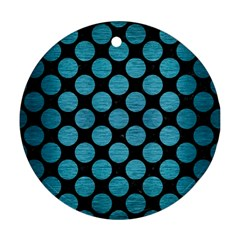 Circles2 Black Marble & Teal Brushed Metal (r) Round Ornament (two Sides) by trendistuff