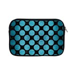 CIRCLES2 BLACK MARBLE & TEAL BRUSHED METAL (R) Apple iPad Mini Zipper Cases Front