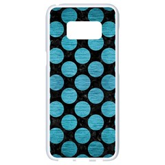 Circles2 Black Marble & Teal Brushed Metal (r) Samsung Galaxy S8 White Seamless Case by trendistuff
