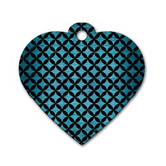 Circles3 Black Marble & Teal Brushed Metal Dog Tag Heart (one Side) by trendistuff